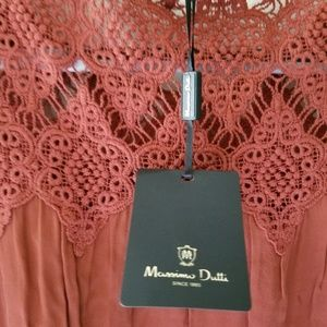 Massimo Dutti tunic top M rust color embroidered